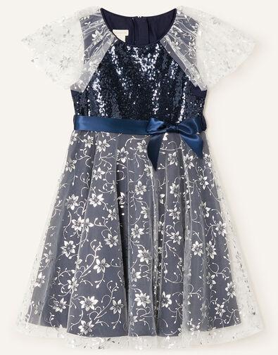 Sanchia Sequin Floral Print Dress Blue, Blue (NAVY), large