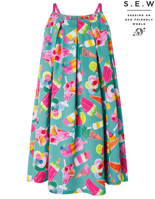 Erica Ice Lolly Satin Dress in Recycled Polyester, Green (GREEN), large