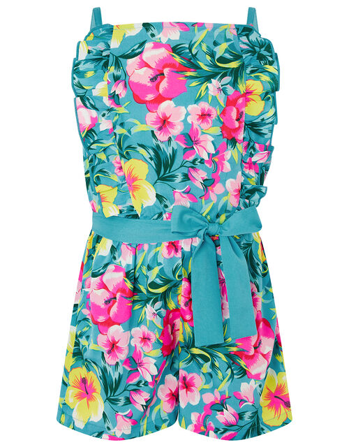 Samia Floral Frill Playsuit, Green (GREEN), large
