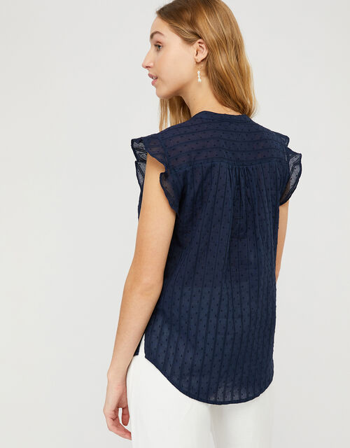Elodie Capped Sleeve Blouse, Blue (NAVY), large