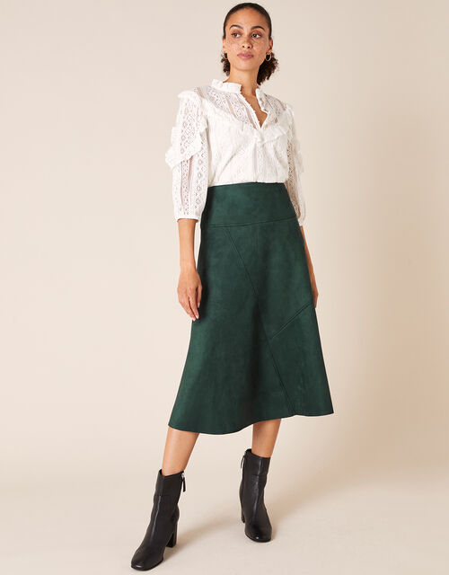 Suedette Midi Skirt with Recycled Fabric, Green (DARK GREEN), large
