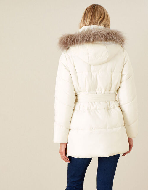 Padded Faux Fur Hooded Coat, White (WHITE), large