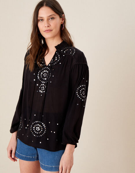 Mirrorwork Blouse in LENZING™ ECOVERO™ Black, Black (BLACK), large