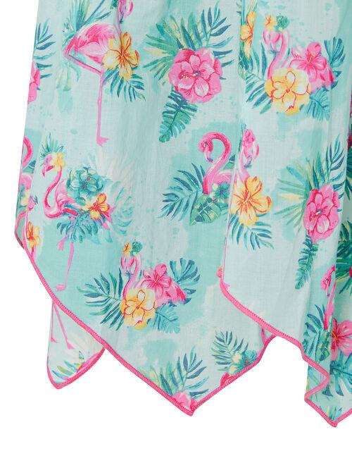 Flamingo Dress in Organic Cotton, Blue (AQUA), large