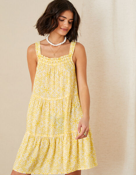 Zuri Printed Dress in LENZING™ ECOVERO™ Yellow, Yellow (YELLOW), large