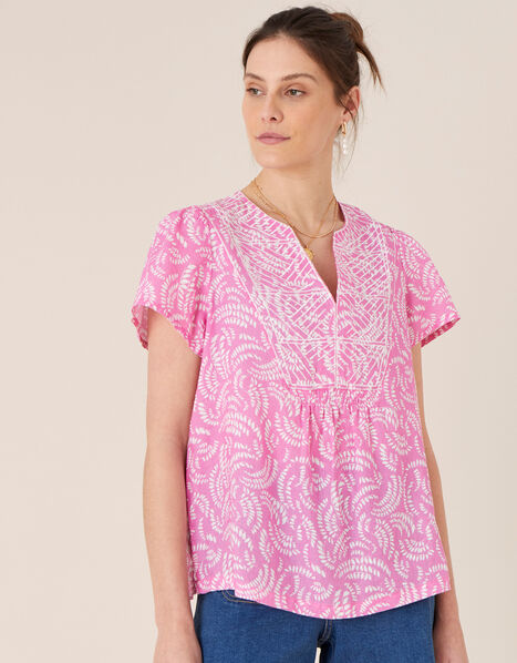 Embroidered Top in Pure Linen Pink, Pink (PINK), large