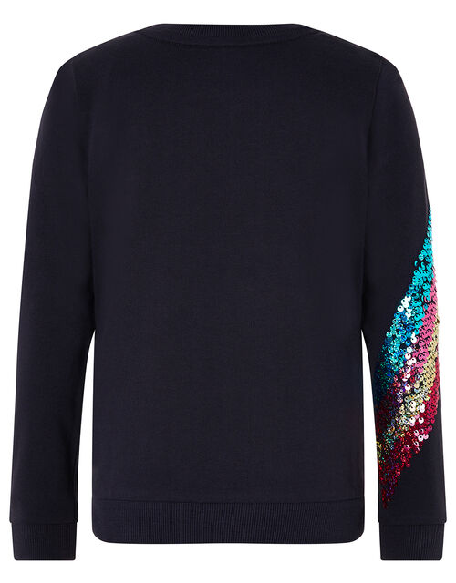 Rainbow Sequin Sweatshirt, Blue (BLUE), large