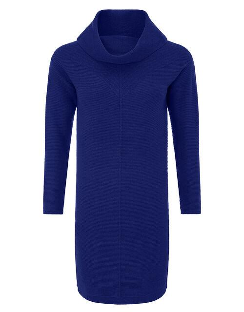 Cali Cowl Neck Knit Dress, Blue (BLUE), large