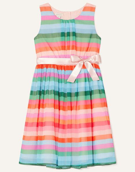 Desert Stripe Chiffon Dress Pink, Pink (PALE PINK), large