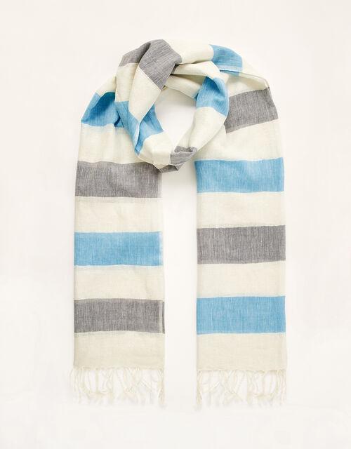 Stripe Lightweight Scarf in Linen Blend, , large