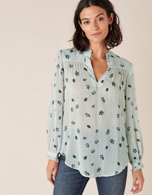 Leaf Print Blouse in Sustainable Viscose, Grey (GREY), large