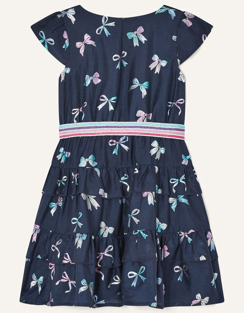 Foil Bow Print Dress with Recycled Polyester, Blue (NAVY), large