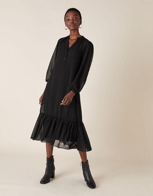 Dobby Devore Midi Dress, Black (BLACK), large