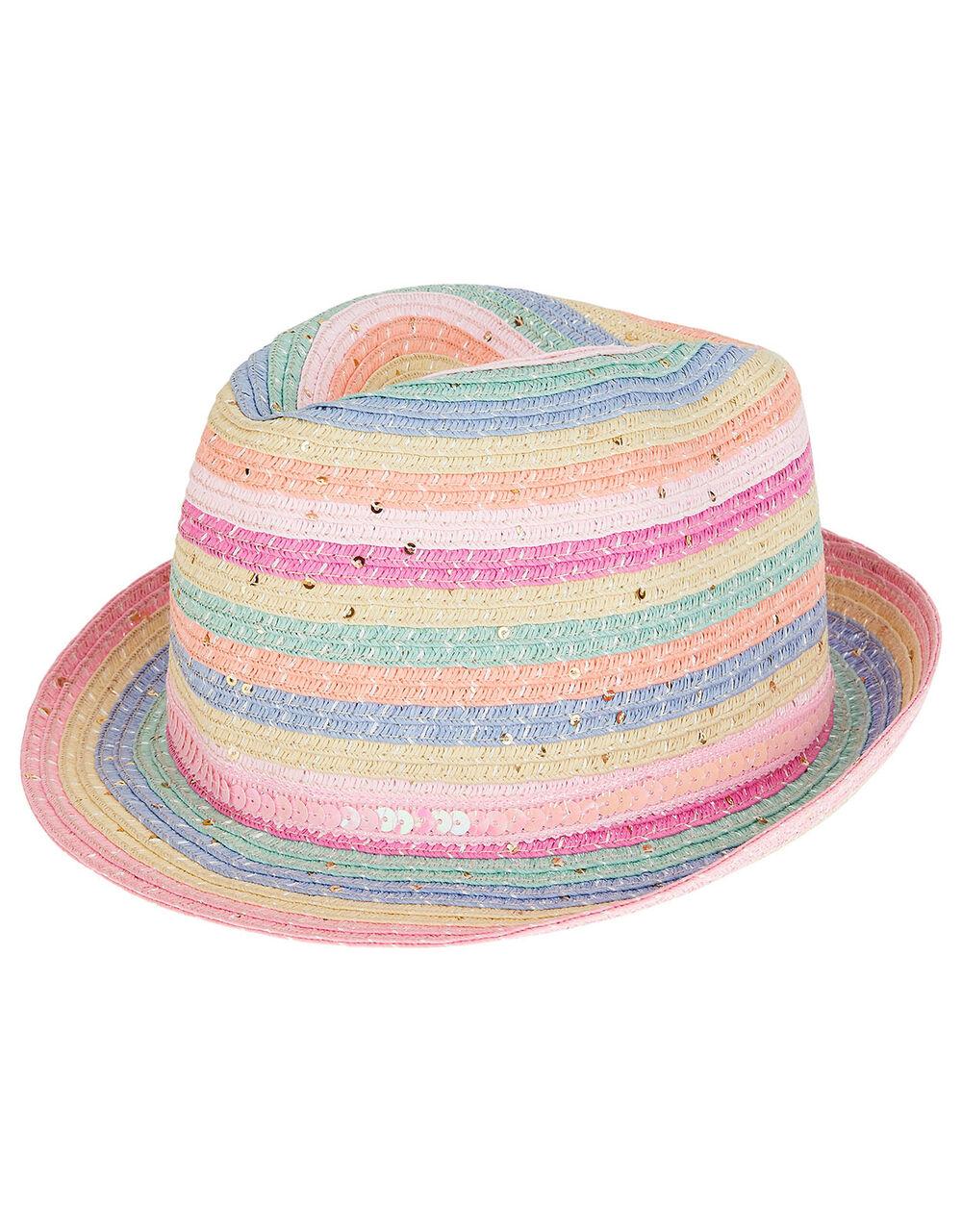 Rainbow Sequin Trilby Hat, Multi (MULTI), large