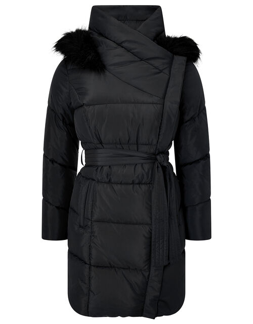 Pasty Long Padded Coat in Recycled Fabric, Black (BLACK), large