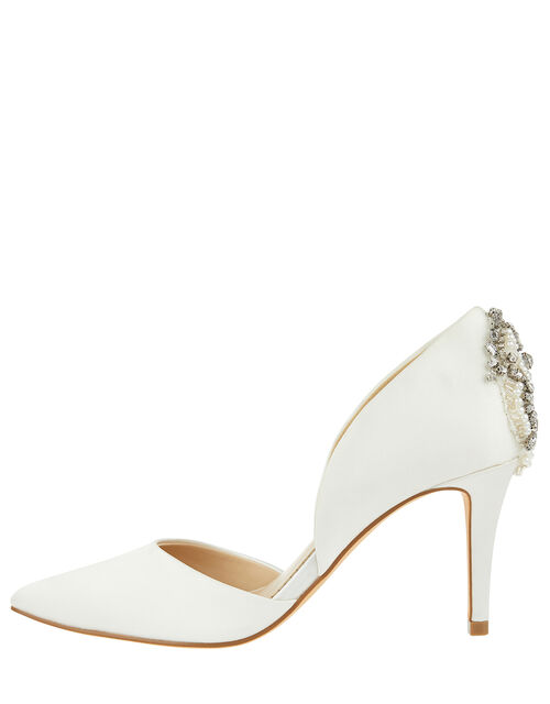 Evie Satin Bridal Court Shoes with Embellishments, Ivory (IVORY), large