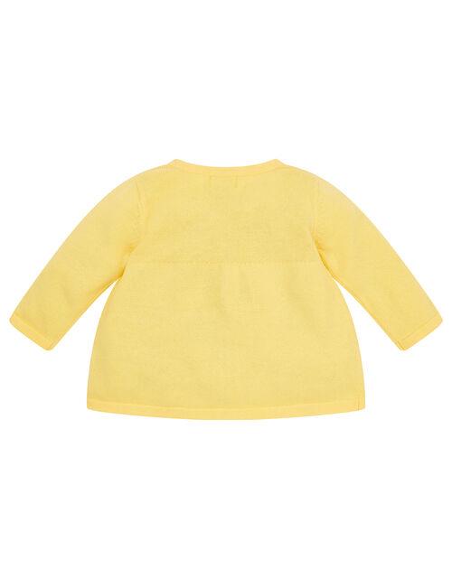 Newborn Embroidered Chick Cardigan, Yellow (YELLOW), large