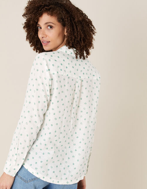 Patsy Spot Shirt in Pure Linen, Ivory (IVORY), large