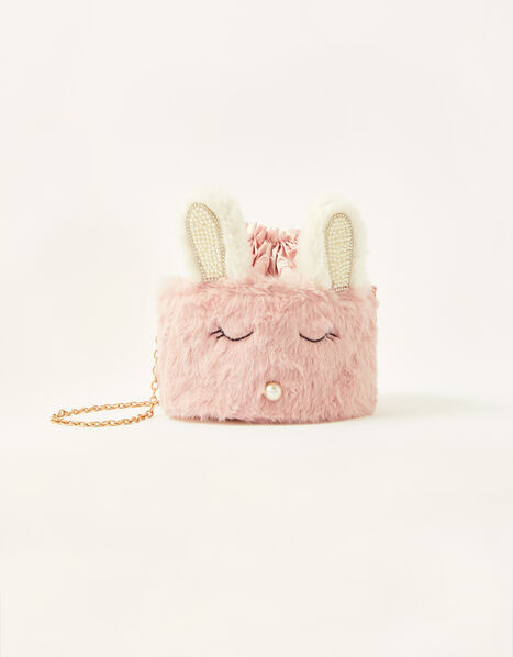 Pearly Fluffy Bunny Pouch Bag, , large
