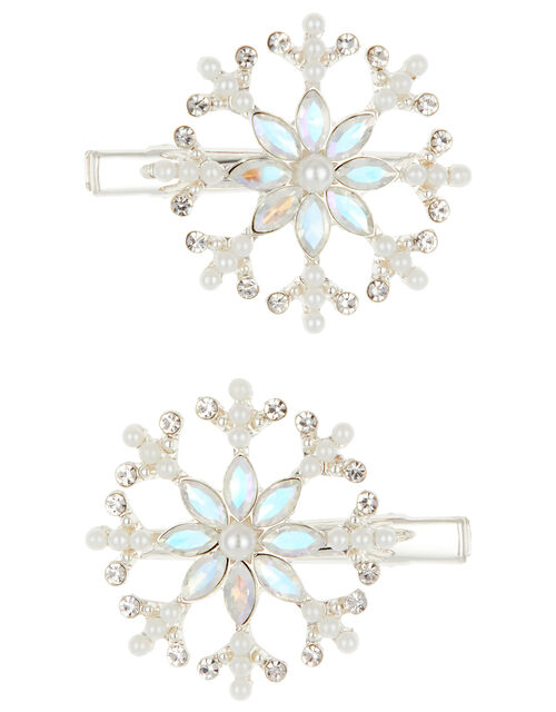 Cosmic Frost Crystal Snowflake Hair Clips, , large