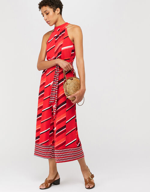 Gina Jersey Print Jumpsuit, Red, large