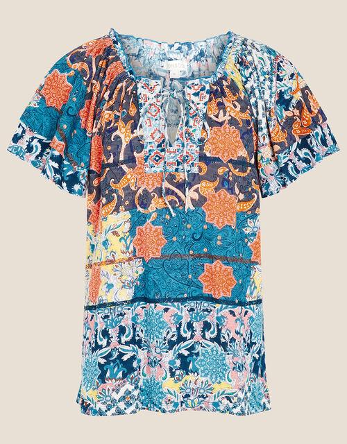 Sufja Printed Jersey Top , Blue (NAVY), large
