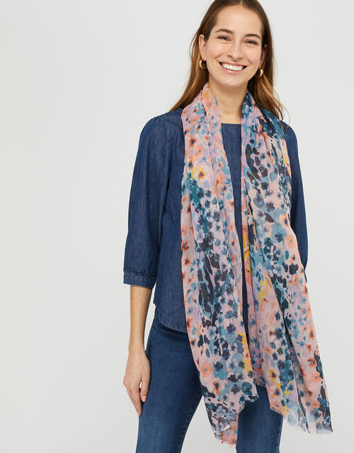 Fawn Floral Recycled Polyester Scarf, , large