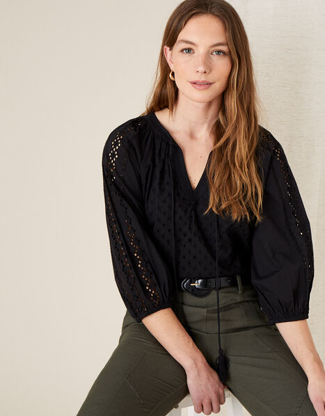 Broderie Top Black, Black (BLACK), large