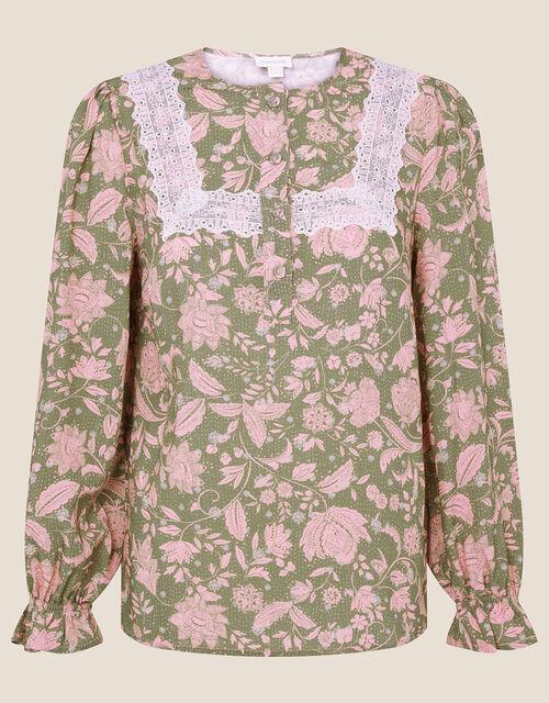 Linie Lace Floral Print Blouse, Green (KHAKI), large
