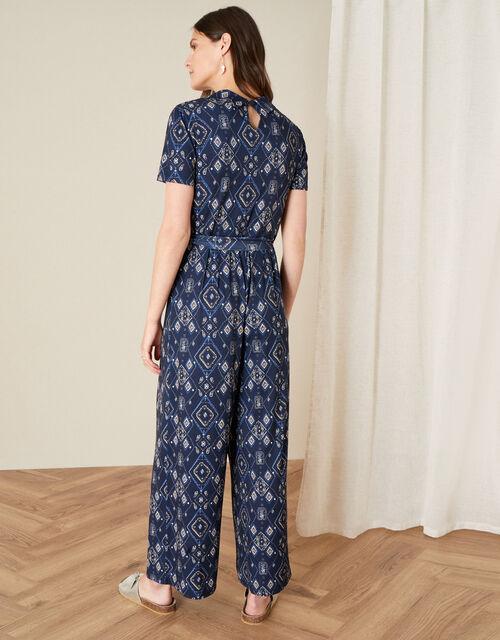 Printed Wide Leg Jersey Jumpsuit, Blue (NAVY), large
