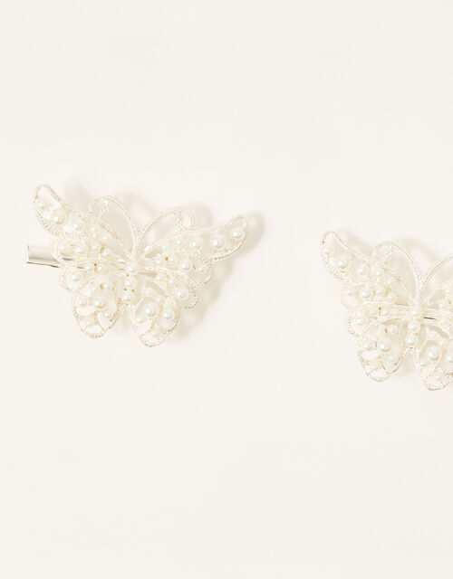 Pearly Butterfly Bag and Hair Clip Set, , large
