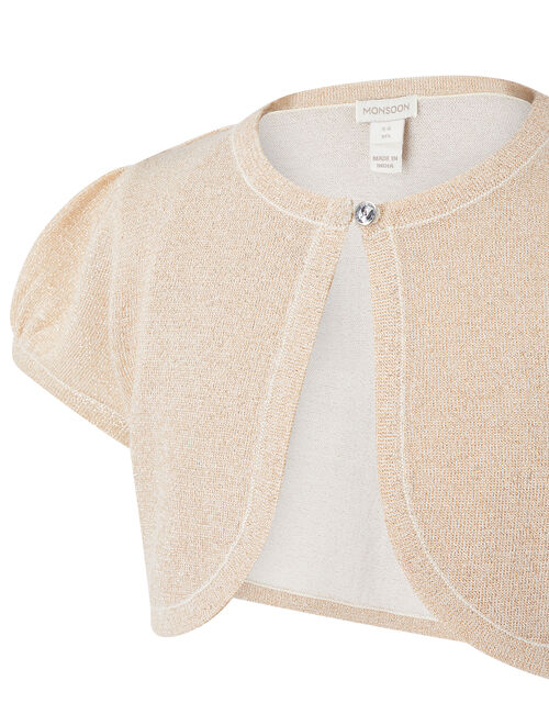 Metallic Capped Sleeve Cropped Cardigan, Gold (GOLD), large