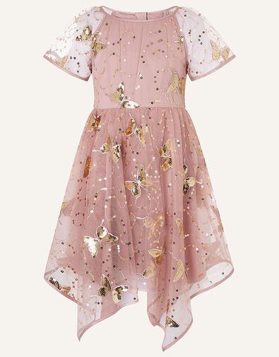 Sequin Butterfly Hanky Hem Dress  Pink, Pink (PINK), large