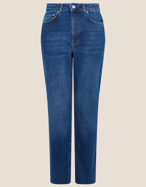 Mom Jeans with Recycled Cotton, Blue (DENIM BLUE), large