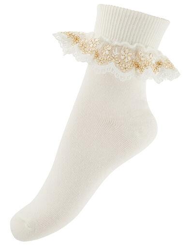 Chloe Metallic Lace Ankle Socks Ivory, Ivory (IVORY), large