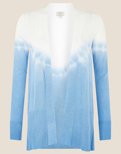 Tie Dye Cardigan in Linen Blend , Blue (BLUE), large