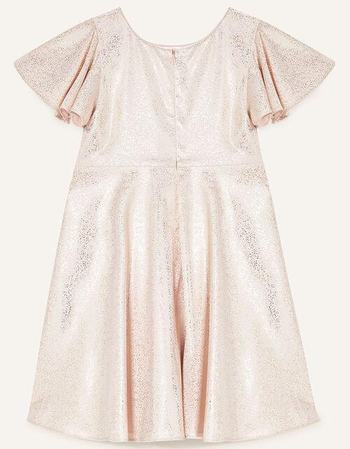 Foil Spot Flutter Sleeve Dress, Gold (ROSE GOLD), large
