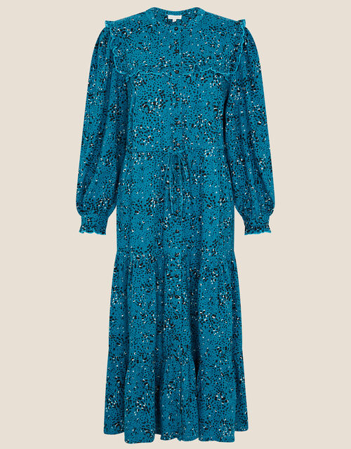Lilianna Printed Jersey Tiered Dress, Blue (TURQUOISE), large