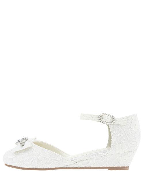 Renee Bridal Crystal Lace Wedges, Ivory (IVORY), large