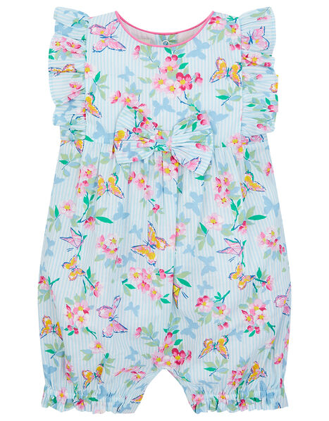 Newborn Baby Butterfly Floral Romper  Blue, Blue (BLUE), large