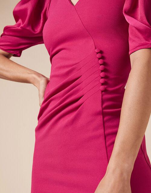 Eleanore Asymmetric Button Shift Dress, Pink (PINK), large