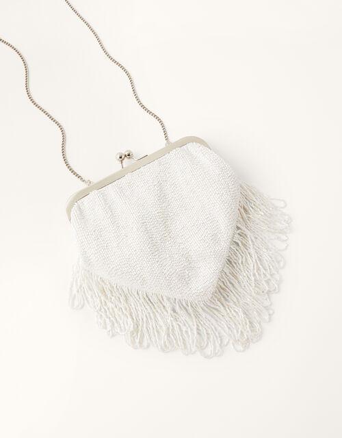 Fringed Beaded Bridal Clutch Bag, , large