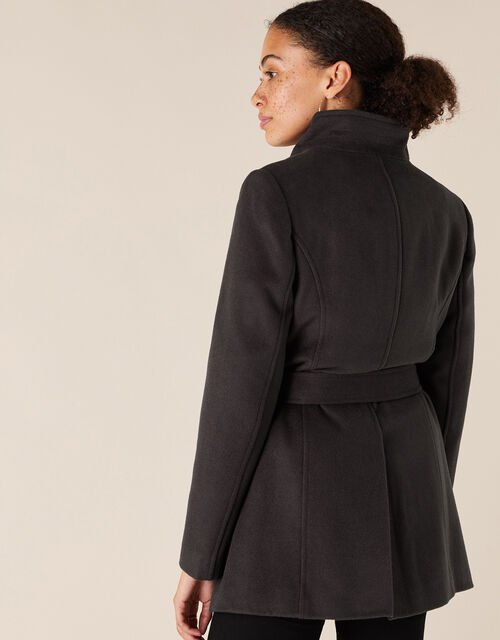 Remmie Short Belted Coat, Grey (CHARCOAL), large