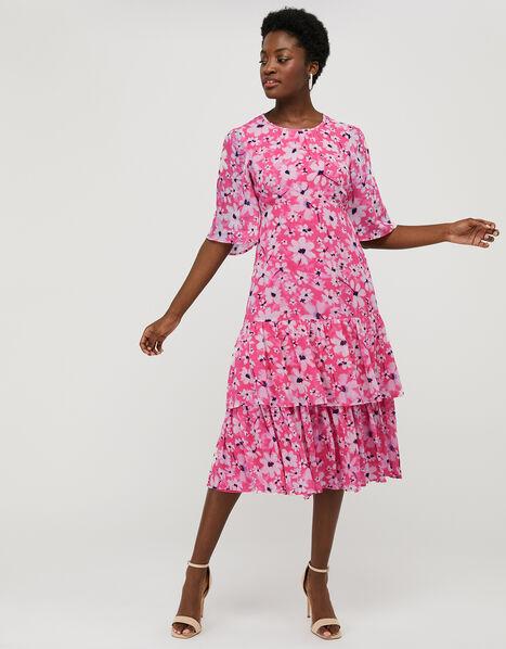Daisy Print Tiered Midi Dress Pink, Pink (PINK), large