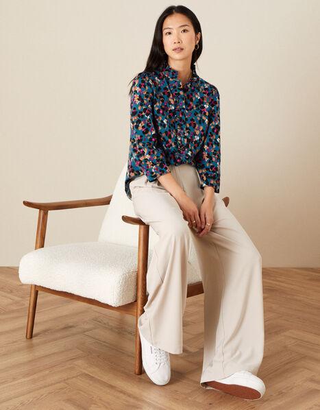 Aria Animal Print Jersey Shirt Teal, Teal (TEAL), large