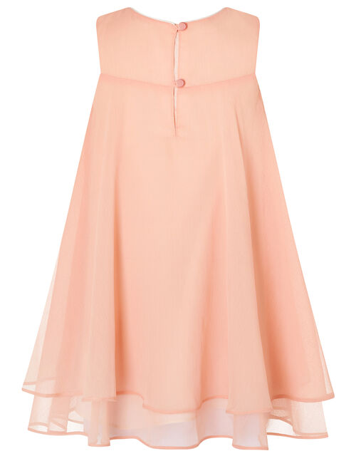 Baby Rosie Flared Dress with Corsage, Orange (CORAL), large