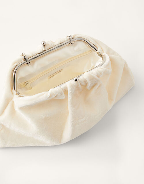 Velvet Ruched Bridal Clutch Bag , , large