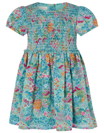 Baby Wildflower Dress in Recycled Polyester Blue, Blue (AQUA), large