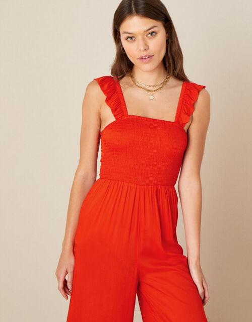 Ruffle Strap Wide Leg Jumpsuit, Orange (ORANGE), large