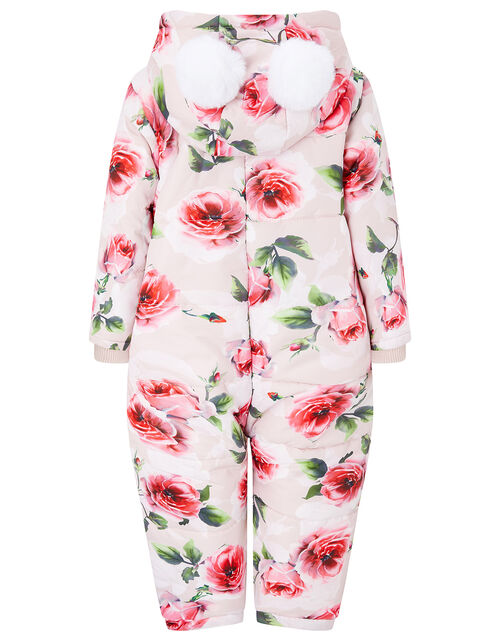 Baby Rose Print Hooded Snowsuit, Pink (PINK), large